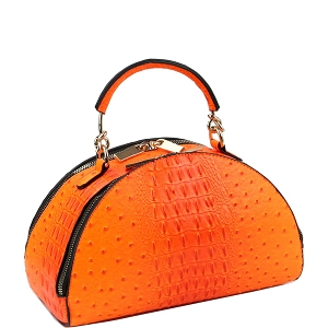 LF182 Neon Ostrich Print 2-Way Medium Half-Moon Satchel Orange
