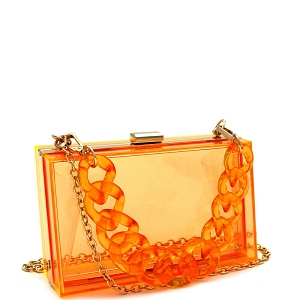 LGZ006 Linked Chain Strap Transparent Clear Acrylic Hard Clutch Orange