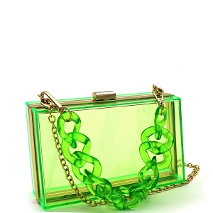 LGZ006 Linked Chain Strap Transparent Clear Acrylic Hard Clutch Green