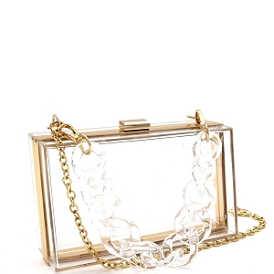 LGZ006 Linked Chain Strap Transparent Clear Acrylic Hard Clutch Clear