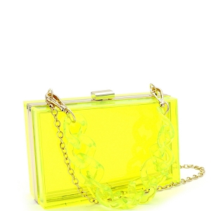 LGZ006 Linked Chain Strap Transparent Clear Acrylic Hard Clutch Yellow
