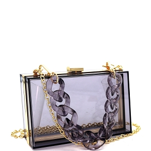 LGZ006 Linked Chain Strap Transparent Clear Acrylic Hard Clutch Black/Gray