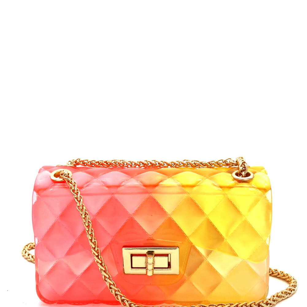 LGZ007 Gradated Multi-colored Jelly Small Flap 2-Way Shoulder Bag Multi-2