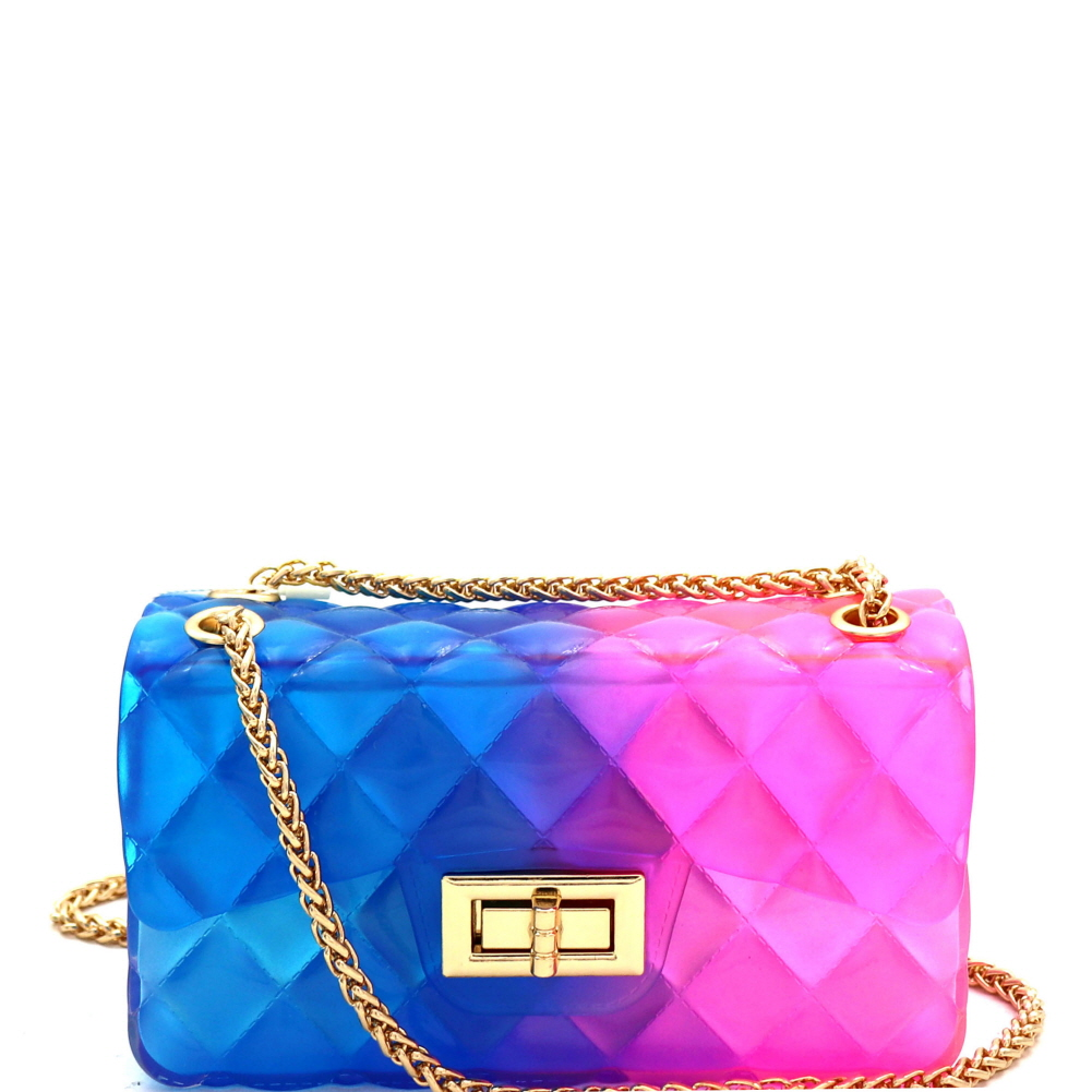 LGZ007 Gradated Multi-colored Jelly Small Flap 2-Way Shoulder Bag Multi-3