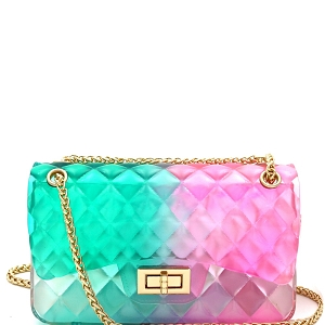 LGZ008 Gradated Multi-colored Jelly Medium Flap 2-Way Shoulder Bag Multi-1 [Teal/Pink'