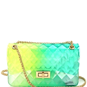LGZ008 Gradated Multi-colored Jelly Medium Flap 2-Way Shoulder Bag Multi-4 [Green]