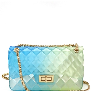 LGZ008 Gradated Multi-colored Jelly Medium Flap 2-Way Shoulder Bag Multi-6 [Blue/Green]