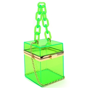 LGZ009 Linked Chain Strap Transparent Clear Acrylic Hard Box Clutch Green