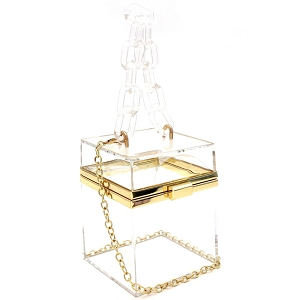 LGZ009 Linked Chain Strap Transparent Clear Acrylic Hard Box Clutch Clear