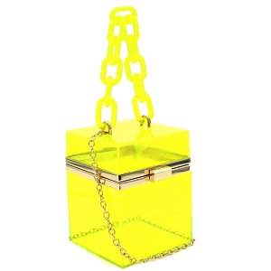 LGZ009 Linked Chain Strap Transparent Clear Acrylic Hard Box Clutch Yellow