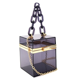 LGZ009 Linked Chain Strap Transparent Clear Acrylic Hard Box Clutch Black/Gray