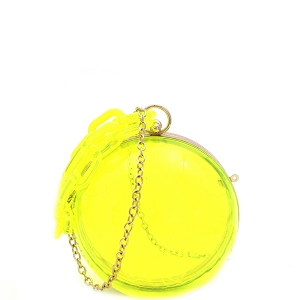 LGZ013 Linked Chain Strap Transparent Clear Acrylic Hard Round Clutch Neon-Yellow