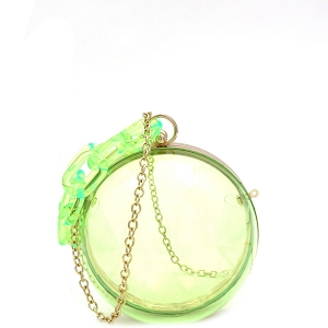 LGZ013 Linked Chain Strap Transparent Clear Acrylic Hard Round Clutch Neon-Green