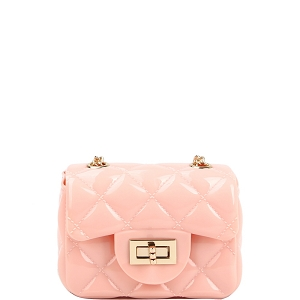 LGZ016 Quilted Effect Turn-Lock Jelly Micro Mini Cross Body Dark-Blush