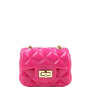LGZ016 Quilted Effect Turn-Lock Jelly Micro Mini Cross Body Fuchsia