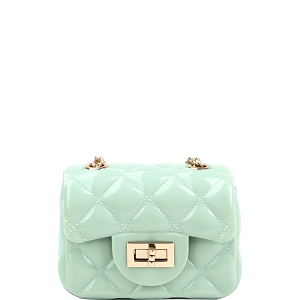 LGZ016 Quilted Effect Turn-Lock Jelly Micro Mini Cross Body Mint