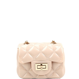 LGZ016 Quilted Effect Turn-Lock Jelly Micro Mini Cross Body Beige