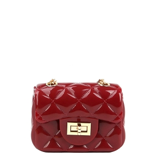 LGZ016 Quilted Effect Turn-Lock Jelly Micro Mini Cross Body Red
