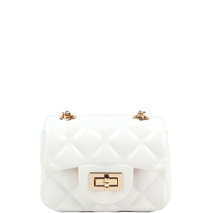 LGZ016 Quilted Effect Turn-Lock Jelly Micro Mini Cross Body White
