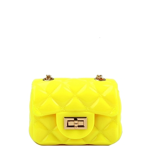 LGZ016 Quilted Effect Turn-Lock Jelly Micro Mini Cross Body Yellow