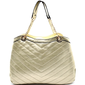LH071 Chevron Patten Quilt Chain Tote Gold