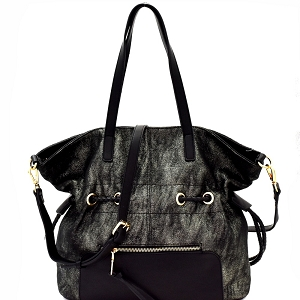 LH085 Two-Tone Metallic Drawstring Tote Black