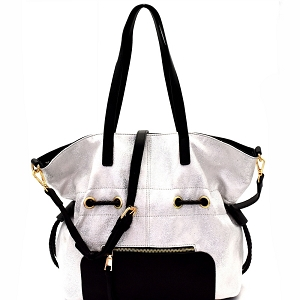LH085 Two-Tone Metallic Drawstring Tote Silver