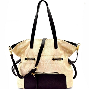 LH085 Two-Tone Metallic Drawstring Tote Gold