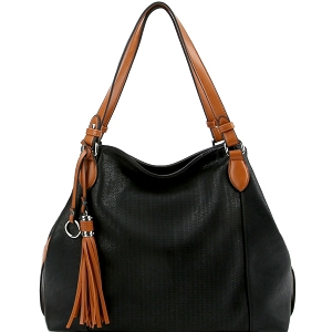 LH098 Tassel Accent Perforated Two-Tone Tote Black