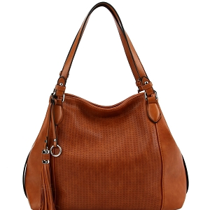 LH098 Tassel Accent Perforated Two-Tone Tote Brown
