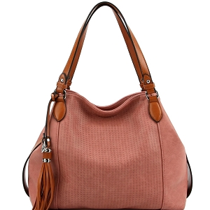 LH098 Tassel Accent Perforated Two-Tone Tote Mauve