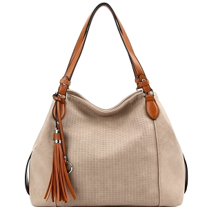 LH098 Tassel Accent Perforated Two-Tone Tote Stone