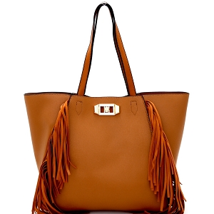 LHU059 Fringe Accent Saffiano Turn-lock 2 in 1 Tote Brown