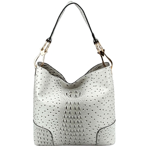 LHU072 Ostrich Print Embossed Side Ring Large Hooked Hobo Gray
