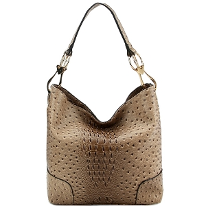 LHU072 Ostrich Print Embossed Side Ring Large Hooked Hobo Taupe