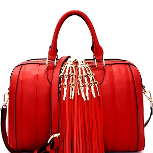 LHU095 Skeleton Hand Accent Tassel Quilted Boston Satchel Red
