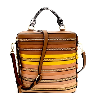 LHU102 Zipper Accent Color Block Striped Boxy Satchel Brown