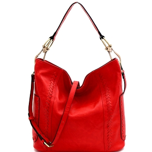 LHU138 Whipstitch Accent Side Ring Large Hooked 2-Way Hobo Red
