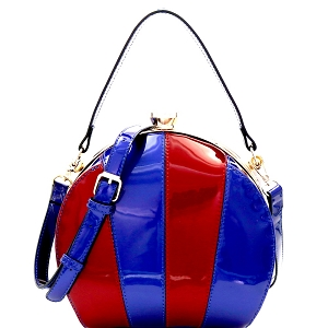 LHU162PT Multi-colored Patchwork Patent Frame Round Satchel Blue