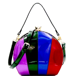 LHU162PT Multi-colored Patchwork Patent Frame Round Satchel Green