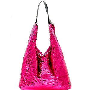 LHU170 Bling and Luxury All-over Sequin Hobo Red