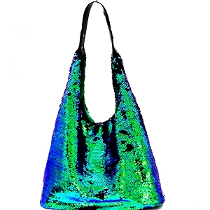 LHU170 Bling and Luxury All-over Sequin Hobo Blue
