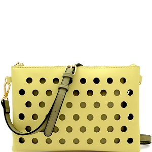 LHU200 Perforated Color Block 2 in 1 Clutch Shoulder Bag Yellow/Olive