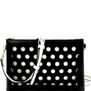 LHU200 Perforated Color Block 2 in 1 Clutch Shoulder Bag Black/White