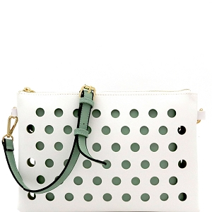 LHU200 Perforated Color Block 2 in 1 Clutch Shoulder Bag White/Mint