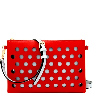 LHU200 Perforated Color Block 2 in 1 Clutch Shoulder Bag Red/Blue