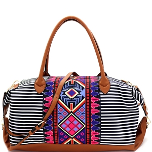 LHU351 Aztec & Stripe Print Oversized Weekender Duffel Bag
