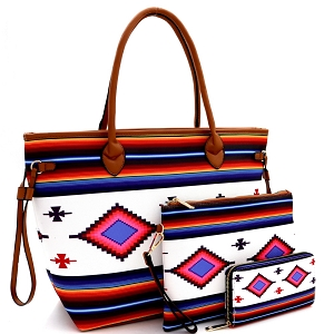 LHU293-1W Aztec & Stripe Print 3 in 1 Oversized Tote Clutch Wallet SET Multi-2