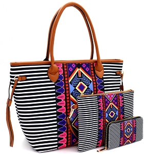 LHU293-1W Aztec & Stripe Print 3 in 1 Oversized Tote Clutch Wallet SET Multi-3