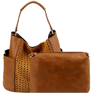 LHU301 Woven Front Detail 2 in 1 Side Pocket Boho Hobo Brown